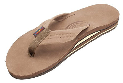 Rainbow Men's Premier Double Layer Leather Sandals, Large, Dark Brown, US Sizes 9.5-10.5