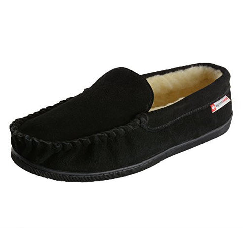 Alpine Swiss Yukon Mens Suede Shearling Slip On Moccasin Slippers Black 11 M US