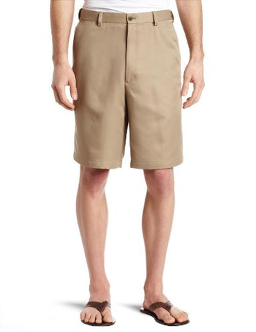 Haggar Men's Cool 18 Gabardine Hidden Expandable Waist Plain Front Short,British Khaki,36