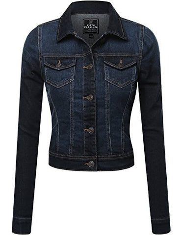 FPT Womens Cropped Denim Jacket DARK WASH MEDIUM
