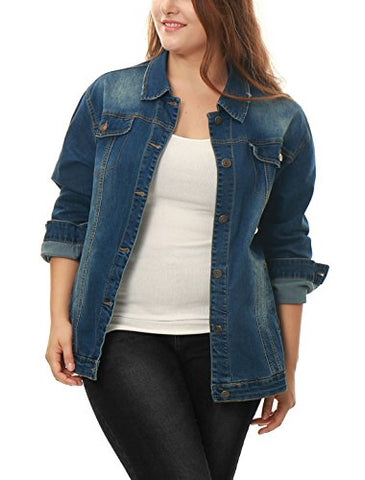 Agnes Orinda Women Plus Size Stitching Button Front Washed Denim Jacket Blue 3X