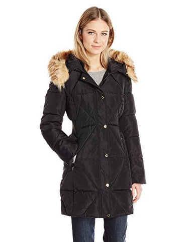 Jessica Simpson Women's Puffer With Faux Fur Collar, Black, L