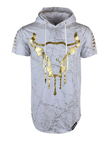SCREENSHOTBRAND-732 Mens Hip Hop Longline Premium Tee - Pullover Hooded Fashion T-shirt w/ Side Zipper Bull Print - White - Large