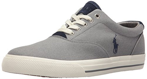 Polo Ralph Lauren Men's Vaughn-Colored Denim Sneaker, Grey, 10 D US