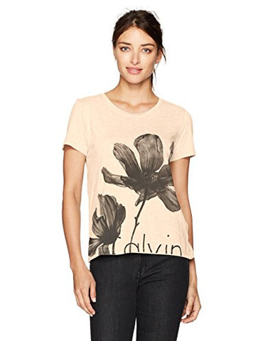Calvin Klein Jeans Women's Short Sleeve Floral Crew Neck T-Shirt, Antique/Beige, LARGE