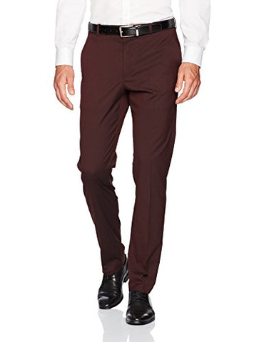 Perry Ellis Men's Slim Fit Subtle Tonal Stripe Dress Pant, Port, 34x32