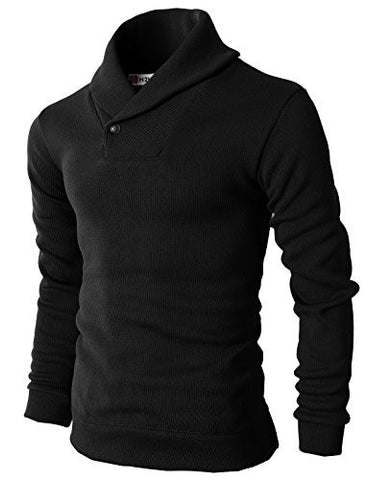 H2H Mens Knited Slim Fit Pullover Sweater Shawl Collar With One Button Point BLACK US XL/Asia XXL (KMOSWL036)