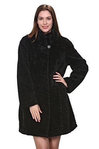 Adelaqueen Women's Winter Persian Lamb Fabulous Faux Fur Coat Stylish Outerwear Black Without Hood Size S