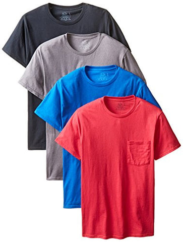 Fruit of the Loom Men's  Pocket Crew Neck T-Shirt (Pack of 4), Assorted Colors, X-Large