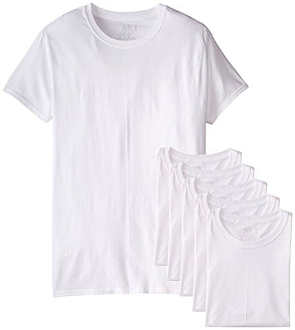 Fruit of the Loom Men's Stay Tucked Crew T-Shirt - X-Large Tall / 46-48 Chest - White (Pack of 6)