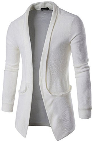Whatlees Mens Casual Long Designer Solid Wool Blend Slim Fit Open Outwear Cardigan B338-White-S