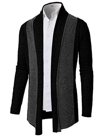H2H Men's Cotton Blend Hooded Cardigan Sweater CHARCOAL US L/Asia XL (CMOCAL020)