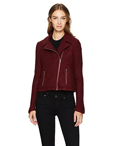 Jack by BB Dakota Women's Karel Heavy Waffle Textured Knit Moto Jacket, Dark Fig, Large