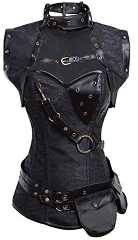 Charmian Women's Retro Goth Spiral Steel Boned Brocade Steampunk Bustiers Corset with Jacket and Belt Black Medium