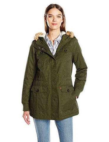 Levi's Women's Coated Cotton Four Pocket Sherpa Lined Mid Length Parka, Army Green, S
