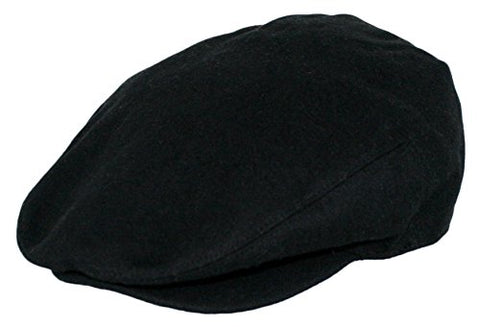 Men's Premium Wool Blend Classic Flat Ivy Newsboy Collection Hat (1581-Black, L )