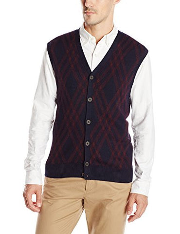 Haggar Men's Exploded Argyle Button Front Sweater Vest, Navy, Medium