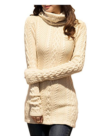 V28 Women Polo Neck Knit Stretchable Elasticity Long Sleeve Slim Sweater Jumper (US SIZE 0-4, Beige)