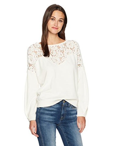 French Connection Women's Lassia Lace Knits, Winter White, XS