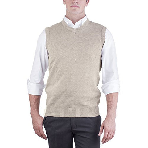 Alberto Cardinali Men's Solid Color V-Neck Sweater Vest SVS1 (Medium, Beige)