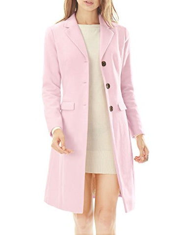 Allegra K Women Notched Lapel Button Closure Worsted Long Coat XS Light Pink