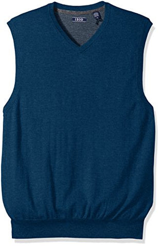 IZOD Men's Fine Gauge Solid Sweater Vest, Estate Blue, Medium