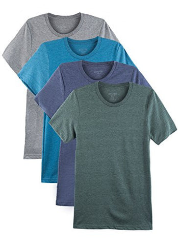 4 Pack Bolter Men's Everyday Cotton Blend Short Sleeve T-shirts (Large, Heather Blue-Green)