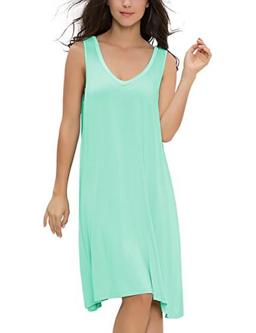 GYS Women's Sleepwear Solid color Sleeveless Nightshirt (XL(8-10), Green)