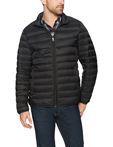Amazon Essentials Men's Lightweight Water-Resistant Packable Down Jacket, Black Caviar, Medium