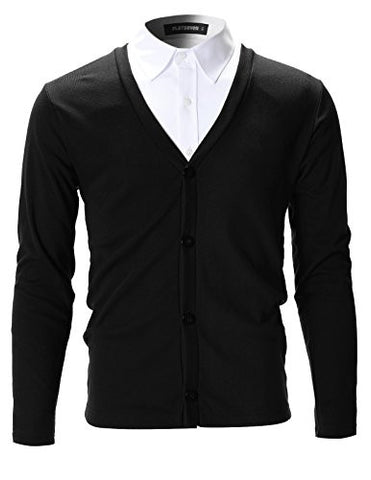 FLATSEVEN Mens Slim Fit Stylish Button up Cardigan (C100) Black, S