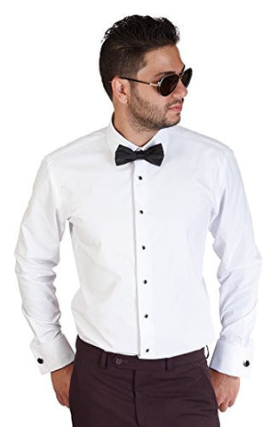 New Mens Tailored Slim Fit White Tuxedo Shirt French Cuff Wrinkle Free By Azar (Large 16/16.5)