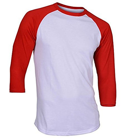 Dream USA Men's Casual 3/4 Sleeve Baseball Tshirt Raglan Jersey Shirt White/Red Small