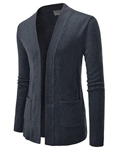 NEARKIN (NKNKCAC5) Open Front Daily Look Buttonless Knitwear Cardigan Sweaters CHARCOAL US XXXL(Tag size 3XL)