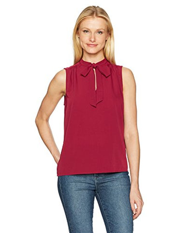 Lucky Brand Women's Solid Sleevless Tie Top, Rumba Red, Medium