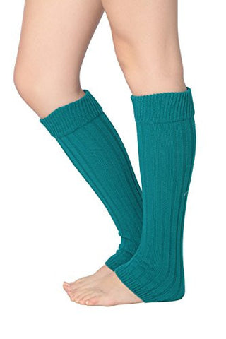 Isadora Paccini Women's Ribbed Knit Leg Warmers, One Size, LW15, teal