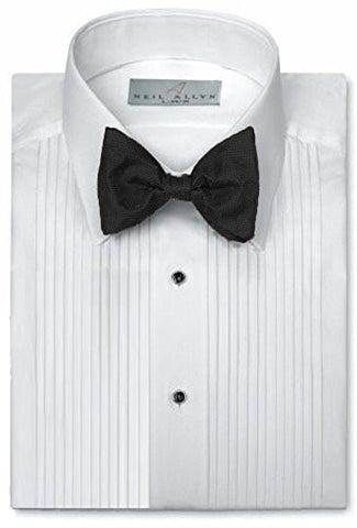 Neil Allyn Mens Tuxedo Shirt Poly/Cotton Laydown Collar 1/4 Inch Pleat (14.5 X 32-33)White