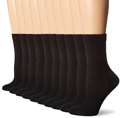 Hanes Women's Big-Tall Crew Extended Size Sock, Black, 10-12/Shoe Size: 8-12 (Pack of 10)