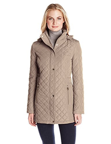 Calvin Klein Women's Classic Quilted Jacket with Side Tabs, Tawny Owl, Medium