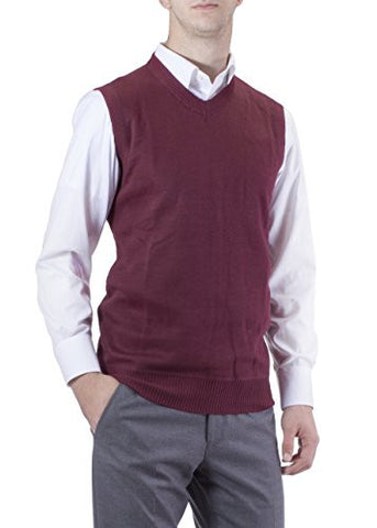 J.Korn Men's Solid Color V-Neck Sweater Vest SVS50 (Meidum Burgundy)