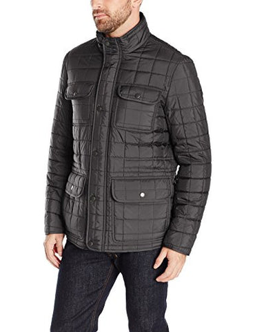 Tommy Hilfiger Men's Four Pocket Box Quilted Military Jacket, Black, XXL