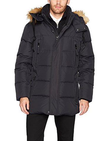 Marc New York by Andrew Marc Men's Conway Hooded Matte Shell Parka with Removable Faux Fur, Black, Medium