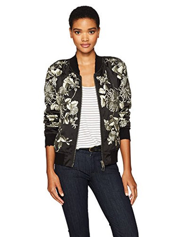 Pam & Gela Women's Silky Embroidered Bomber, Black, S