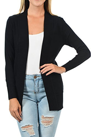 YourStyle Women Open Front Long Sleeve Classic Knit Cardigan (Medium, Black)