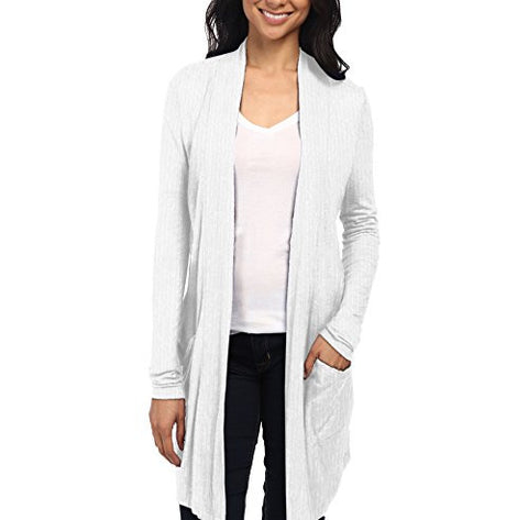 Womens Casual Open Front Drape Cardigan KSKW31127 52309 WHITE Large