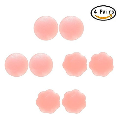 Nipple Covers, 4 Pairs Reusable Adhesive Silicone Nipple Covers