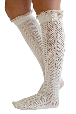 The Original Button Boot Socks with Lace Trim Boutique Socks by Modern Boho Ivory One Size