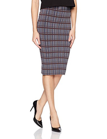 BCBGMAXAZRIA Women's Leger Knit Plaid Printed Pencil Skirt, Cool Grey Combo, M