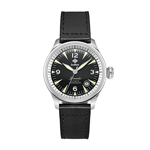 Zodiac Men's 'Jet-O-Matic' Swiss Automatic Stainless Steel and Leather Casual Watch, Color:Black (Model: ZO9150)