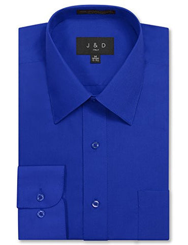 JD Apparel Men's Long Sleeve Regular Fit Solid Dress Shirt 19-19.5 N : 34-35 S Royal Blue