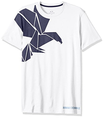 A|X Armani Exchange Men's Geometric Printed Eagle Slim Fit Crew Neck Tee, White, X-Large